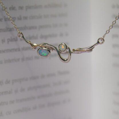 Colier din argint cu opale duo Aqua (6)