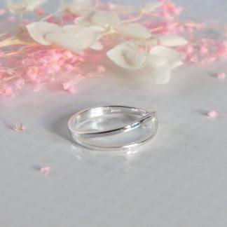 Inel din argint asimetric slim Delicate