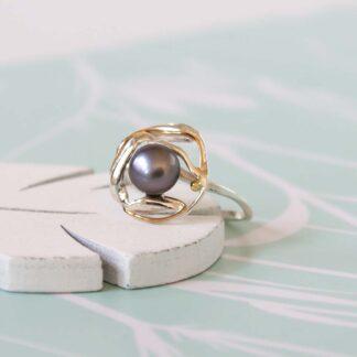 Inel din argint cu perla neagra Organic (9)