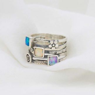Inel lat din argint cu opale si detalii Multistone