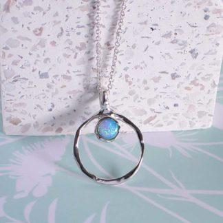 Lantisor de argint cu pandantiv opal Aqua (4)