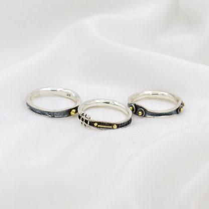 Set 3 inele din argint oxidat, diferite Oxid