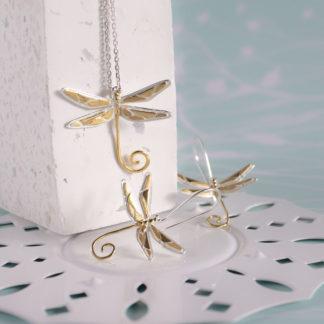 Set argint lantisor cu cercei Libelula