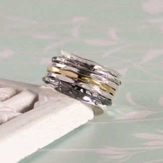 Inel lat texturat din argint cu 5 inele mobile Mix