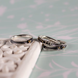 Set 3 inele din argint oxidat, diferite Oxid (
