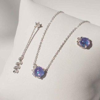Set argint Cercei si Colier, cu cristale violete, Lavande (9)