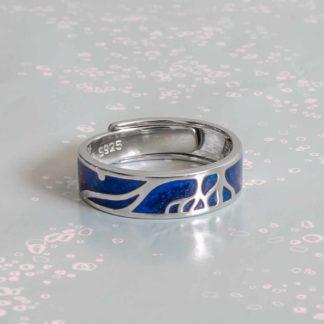 Verigheta din argint reglabila unisex, albastru Roots