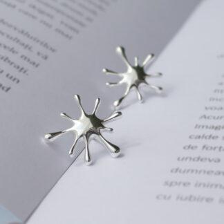 Cercei din argint cu design minimalist modern, Splash