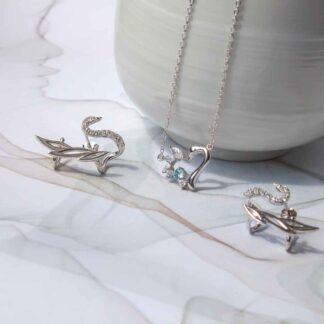 Set cercei si colier din argint, Lebada (3)