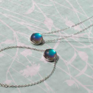 Set din argint cu colier si bratara, Frozen Forest - Dark blue (2)