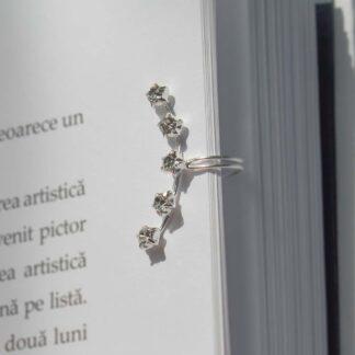 Cercel ear cuff din argint, cu zirconii stelute, Shine-2