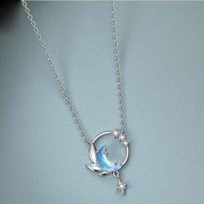 Colier de argint cu semiluna, Blue Moon (4)
