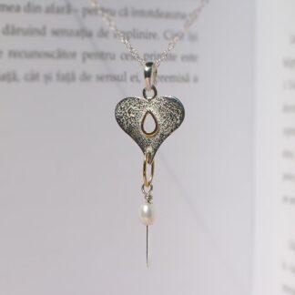 Colier inima din argint texturat, cu perla, Eros (4)