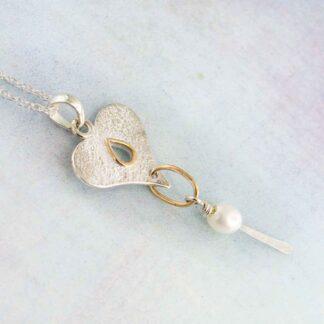 Colier inima din argint texturat, cu perla, Eros (5)