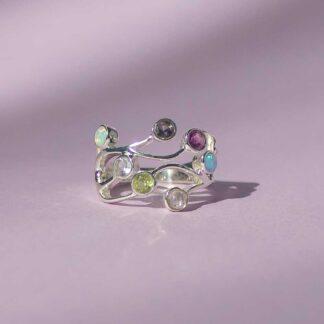 Inel delicat din argint cu pietre semipretioase, Pastel Multistone-2