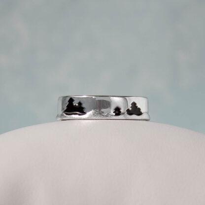 Inel lat reglabil din argint, cu model texturat, Mountains
