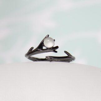 Inel negru din argint, cu marime reglabila, Spike