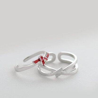 Inele cuplu minimaliste din argint, ajustabile, Nod