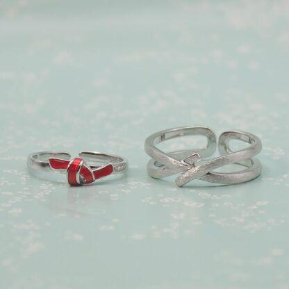 Inele cuplu minimaliste din argint, ajustabile, Nod (6)