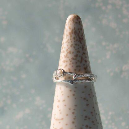 Set 2 inele din argint texturate, cu perla de cultura, Silver Branch-2