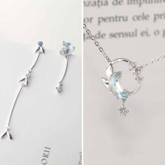 Set de bijuterii din argint cu semiluna, Blue Moon