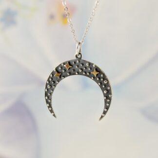 Lant cu Luna noua din argint si stelute din bronz, Black Crescent