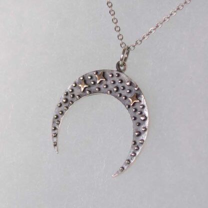 Lant cu Luna noua din argint si stelute din bronz - Black Crescent