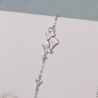 Bratara delicata din argint cu email roz Calliope