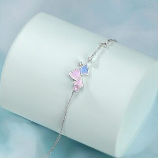 Bratara delicata din argint cu email roz Calliope (4)