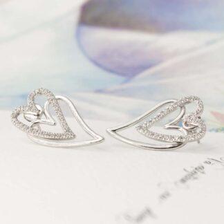 Cercei din argint cu inimi, 2in1, Double Love