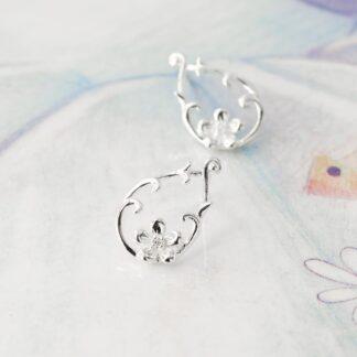 Cercei din argint cu surub si floare, Wild Flower