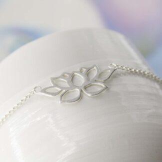Bratara din argint minimalista, Lotus