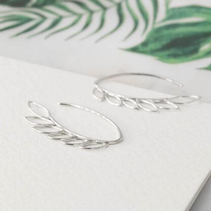 Cercei de argint, minimalisti cu frunzulite, Leaves