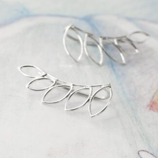 Cercei ear pins de argint, minimalisti, Leaves
