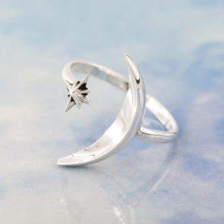 Inel argint minimalist cu semiluna mare, The Moon