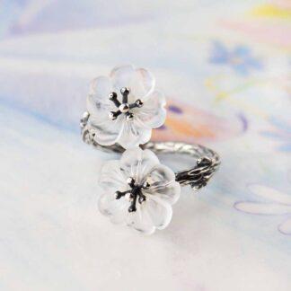 Inel de argint cu 2 flori, reglabil, Floare de sticla