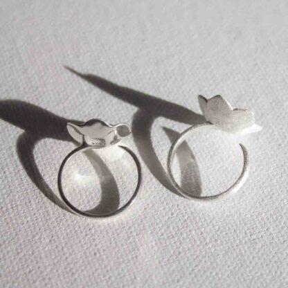 Inel de argint cu topaz sau granat, Floare de Nufar