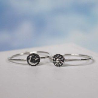 Set inele stackable din argint oxidat, handmade, Soarele si Luna